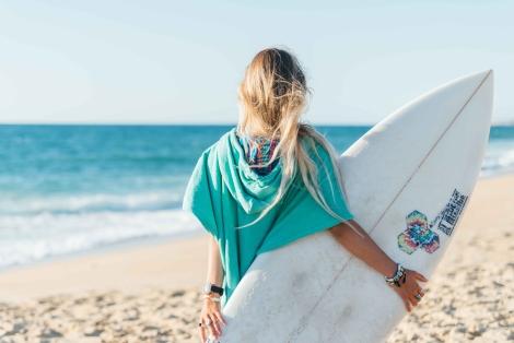 Seaglass Surf Poncho/Blue Wave Pattern