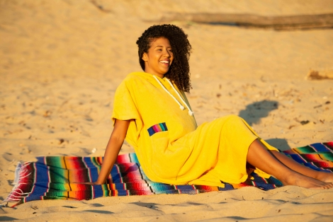 Mango Towel Surf Poncho / Mexican Rainbow Fabric