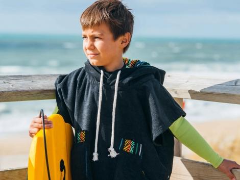 Black Kid Surf Poncho/Tribal Pattern