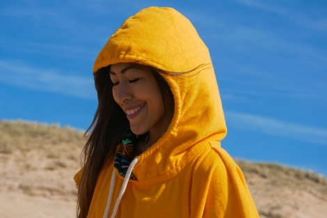 surfer poncho mango yellow