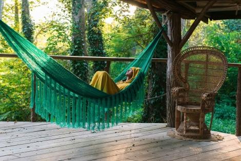 Fringe hammock teal