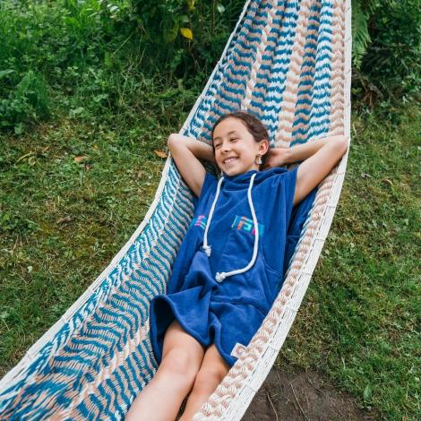 Ocean Blue Kid Towel Surf Poncho/Blue Wave Pattern