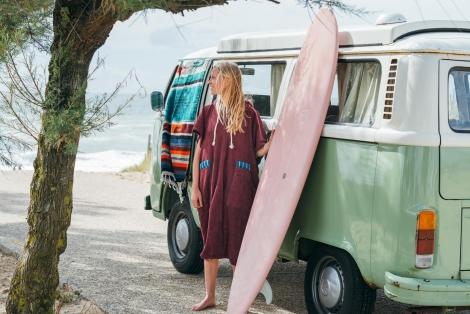 Bordo Towel Surf Poncho / Blue & yellow striped fabric