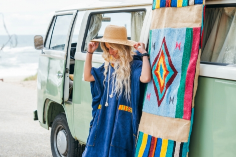 Ocean Blue Towel Surf Poncho / Yellow Tribal patterns