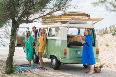 French Blue Towel Surf Poncho / Green tribal patterns