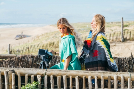 Seaglass Towel Surf Poncho / Yellow rainbow fabric