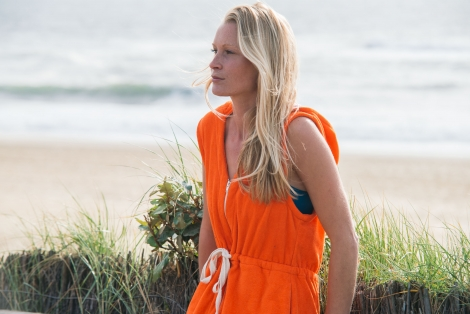 Coral Towel Surf Dress / white striped fabric