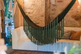 Fringes handmade woven hammock jungle green