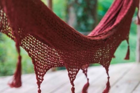 crochet hammock wine red