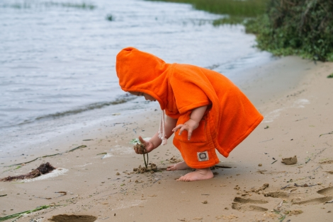 Orange Sunset Baby Surf Poncho