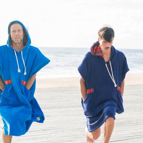 French Blue Towel Surf Poncho / Orange tribal patterns