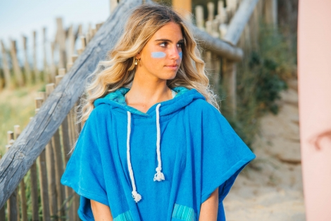 French Blue Towel Surf Poncho / Sky Blue Striped Fabric