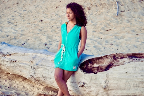 Seaglass Towel Surf Dress / Yellow Rainbow Fabric