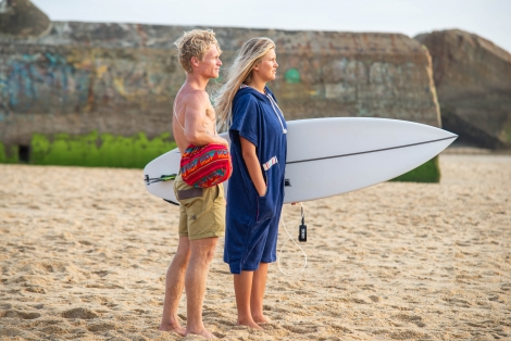 Ocean Blue Towel Surf Poncho / Red wave Pattern